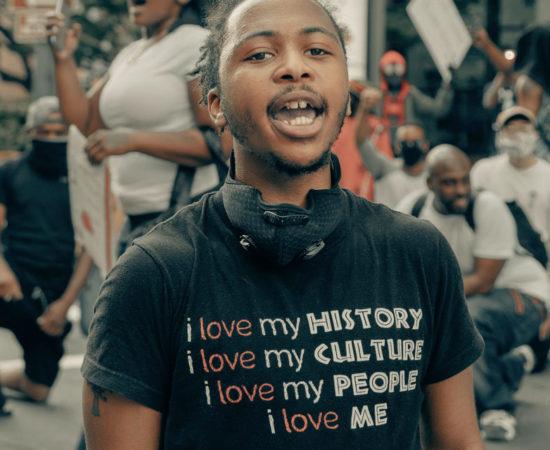 man protesting for black lives matter